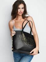 NEW Victoria's Secret Metallic Striped Large Tote Bag Purse Black $68.00