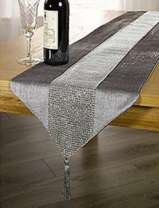 OZXCHIXUTM 13inch x 72inch Table Runner with Diamante Strip and Tassels Grey