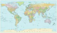 Laminated World map poster waterproof 91x61cm with all city names educational