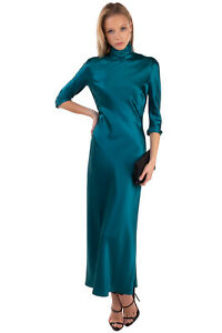 RRP €1550 GALVAN LONDON Silk Satin A-Line Dress Size 36 / XS Unlined Made in UK