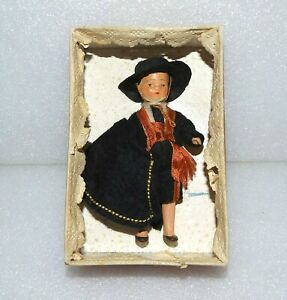 """VINTAGE BISQUE SPANISH BOY Original Clothes & Box 3 3/4"""" JOINTED MINIATURE DOLL"""