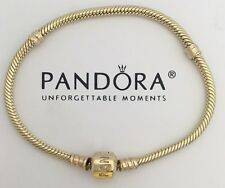 "New Genuine 14k Gold Pandora Charm Bracelet 550702-17 (6.7"")"
