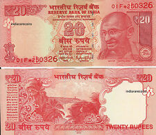 India 20 Rs Star Replacement Note 00F Inset Rajan L Inset 2016 Money Unc New