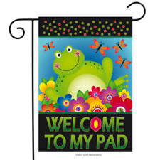 "Frog Welcome Summer Garden Flag Floral Dragonflies Briarwood Lane 12.5"" x 18"""