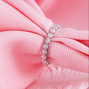 0.75Ct Round Cut VVS1/D Diamond Full Eternity Wedding Band 14K White Gold Finish