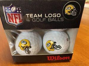 Green Bay Packers - 4 Wilson Team Logo Golf Balls - New in Box