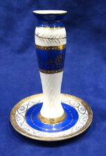 Vintage IMPERIAL Decorative Ceramic Blue Candle Holder Gold Trim Imperial