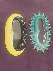Yellow And Green Oval Sun/Moon Painted Mirrors 24 in X 12 in