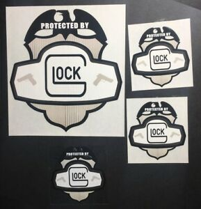 Glock Protected By Decals x 3 Security Label