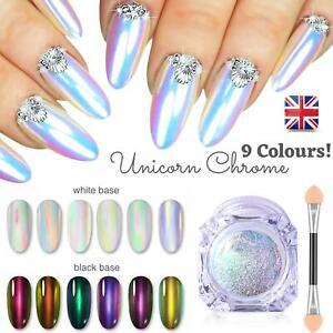 9 Colours UNICORN AURORA NAIL CHROME POWDER Rainbow Mirror Mermaid Chameleon UK