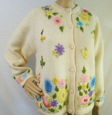 VTG 1950s knit acrylic cardigan sweater rockabilly Stephen Chu Floral Embroidery