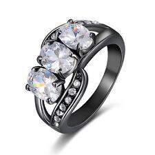 Women's Size 9 Halo White Topaz 10KT Black Gold Filled Engagement Wedding Ring
