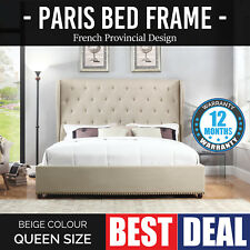 Bed Frame Queen Beige Provincial Wooden Slat Fabric Upholstered French Paris