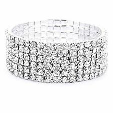 6 Row Crystal White Gold Plated Bangle Tennis Stretch Bracelet Cuff Wristband