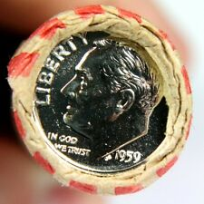 1959 Proof Silver Roosevelt Dime Showing on the End of 50 Coin Wheat Cent Roll 1