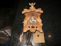 German cuckoo clock w/ birds, deer, rabbit (as found) see photos for repair