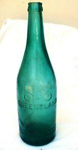 Antique Aqua Embossed Brisbane Bottle Exchange Co Ltd. Binocular Logo C1910-1930
