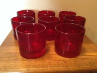 8 vintage heavy blown ruby Old Fashioned On the Rocks glasses