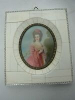 ANTIQUE SIGNED GAINSBOROUGH HAND PAINTED MINIATURE PORTRAIT OF PRETTY LADY