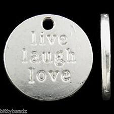 Live Laugh Love Pendants Jewelry Making Supplies 10pcs Charm DIY Texture Stamp