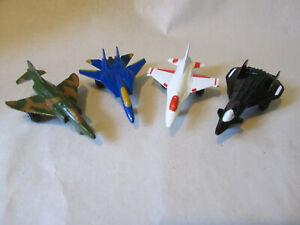 Tootsietoy Diecast Jet Planes White F-16, Blue F-14 Black Stealth & Airforce Jet
