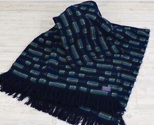 Vintage Pendleton Wool Woven Knit Stadium Throw Blanket Blues Green w/ Fringe /c
