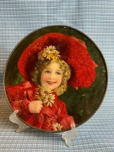 FLUE COVER LOT #32 Little Girl in Red Dress with Big Red Hat holding Daisies