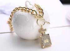 New Fashion Chunky Inspired Large Glam Gold-Tone Crystal Perfume Bottle Necklace