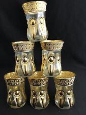 SET OF 6 ARABIAN TURKISH STYLISH GOLDEN DECOR GLASS TEA CUP SET PERFECT GIFT
