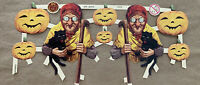 Vintage Halloween Witch Gypsy Fortune Teller Pumpkins 1930 Die Cut Germany New