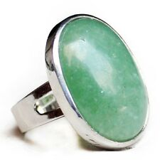 Gorgeous Handmade Natural Huge Oval Green Agate Gemstone Silver Adjustable Rings