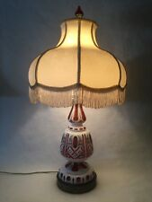 "Vintage Bohemian Czech Milk Cut to Cranberry Glass Table Lamp, 32"" Tall"