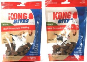 2 Count Kong Bites Natural Any Time Treating For Dogs Beef Flavor BB 10-31-2021