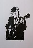 Original Mooseart Gemälde Angus Young AC/DC Acryl auf Papier ca.42x59cm DIN A2