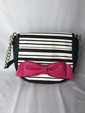Betsey Johnson Cross Body Purse Black/White Stripe Hot Pink Bow NWOT