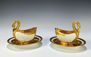 Pair of Antique Imp de Sevres Gilt Painted Porcelain Sauce Boats in Swan Form