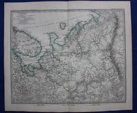 RUSSIA, ARCHANGELSK, ARCHANGEL REGION, original antique map, Stieler 1881