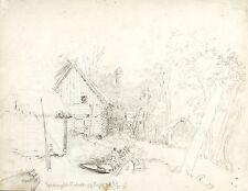 LEHDE (LÜBBENAU) - Blockhaus & Schuppen - Zeising - Bleistiftzeichnung 1878