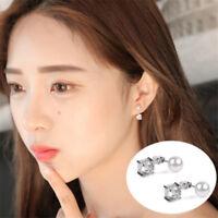 Korean Style Women Beads Stud Earrings Pearl Zircon Silver / Gold Plated Jewelry