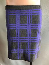 BNWT Ladies Sz M 12 Mix Brand Blue Checked Soft Stretch Knit Winter Mini Skirt