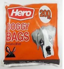 200 DOGGY BAG POO BAG DOG WASTE POOP STRONG BAG WITH HANDLES