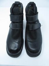 LL BEAN Black Leather Hiking Ankle Boots Straps Women's Sz 10 M