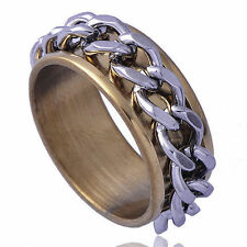 Delicate Men's jewelry Yellow titanium Steel White Chain spin Band Ring  Size 8