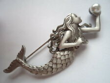 "Vintage Signed JJ  ""Silver pewter  Mermaid holding Faux Pearl""  Brooch/Pin"