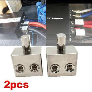 2pcs Car Audio High Power Amplifier Plug Dual 1/0 To 1/0 Gauge Amp Input Reducer