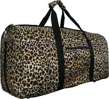 "21"" Women's Leopard Print Gym Dance Cheer Travel Carry On Duffel Bag - Black"