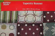 """NEW BEAUTIFUL WINTER TAPESTRY TABLE RUNNERS 13"""" X 70""""  Patchwork Style"""