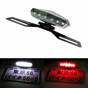 Motorcycle License Plate Mount Holder Bracket LED Brake Tail Lights Safe Warning