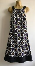 Hobbs 100% lin violet or abstrait cercles Print Shift Smock Robe Taille UK 10