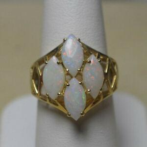 14K Marquise Shape Opal Cluster Ring Vintage
